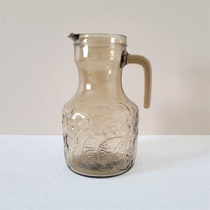 Vintage Hazel Color Glass Water Lemonade Pitcher.